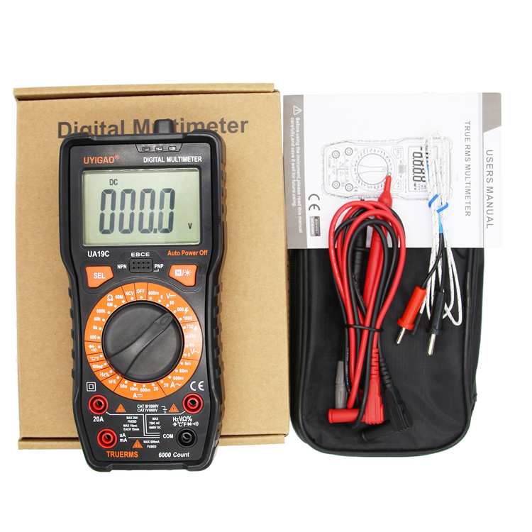 Digital Multitester with 10MHz Frequency 100mF Capacitance 1000C Temperature Tester UA19C