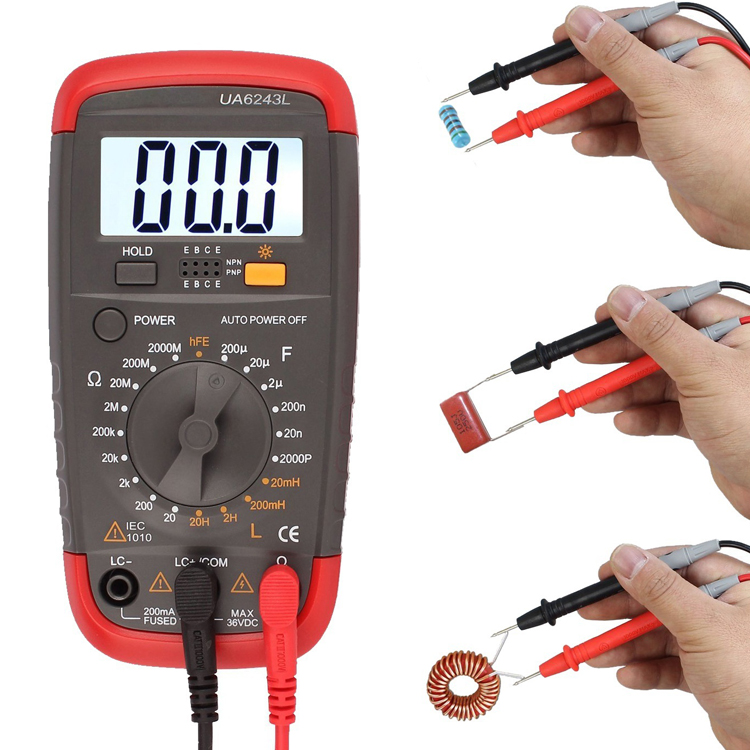 LCR Meter with inductance capacitance resistance multitest tester UA6243L