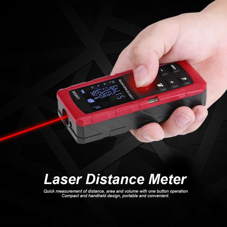 Digital Laser Meter, Laser Distance Meter with Backlit LCD Screen, Single-distance Measurement/ Continuous Measurement/ Area/ Pythagorean Modes UA100M